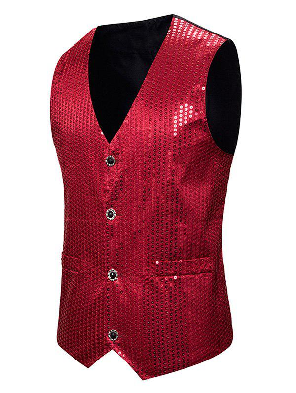 Glitter Sequined Single Breasted Tuxedo Vest - RED 2XL