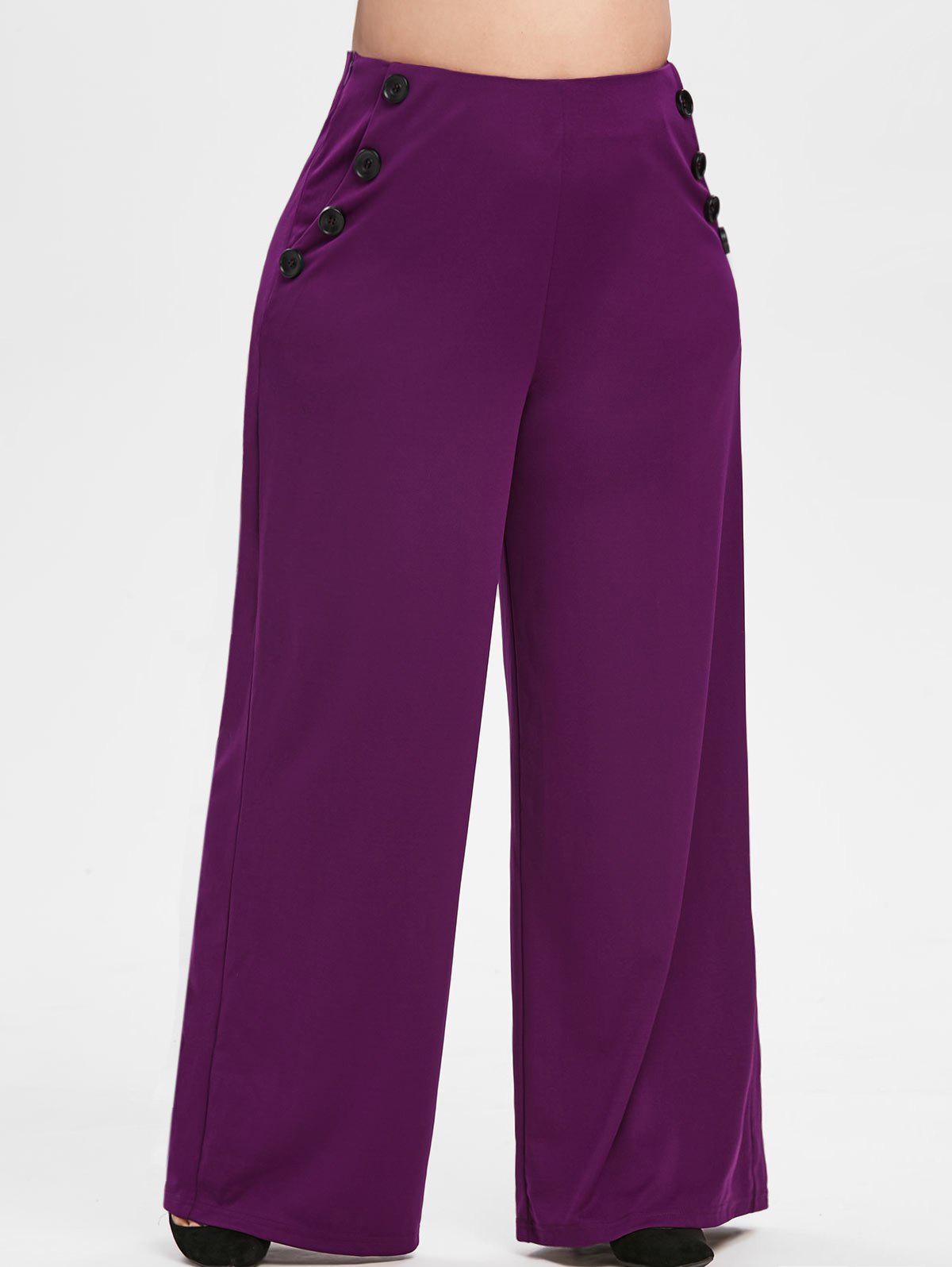 Plus Size High Waisted Palazzo Pants - PLUM PIE L