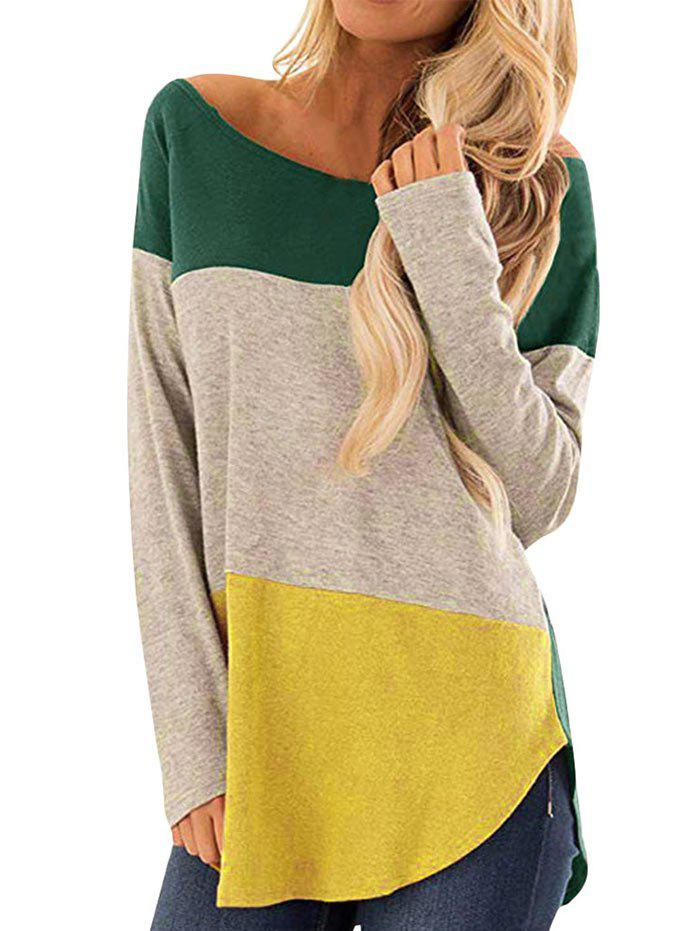 Ourlet arrondi Colorblock Top à manches longues - Vert Pin S