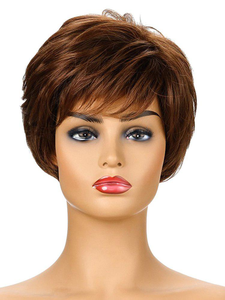 Fluffy Short Synthetic Side Bang Straight Wig - BROWN