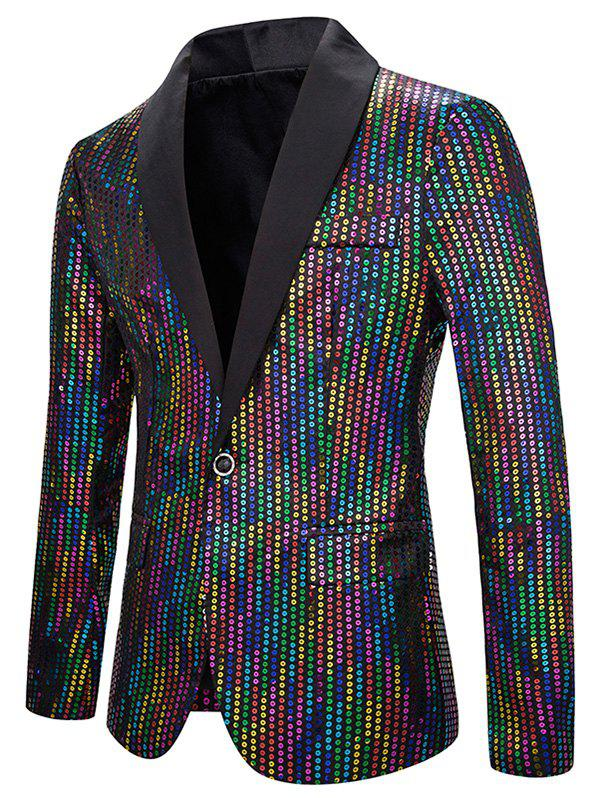 Brillant coloré pailleté One Button Blazer à col châle - multicolor 2XL