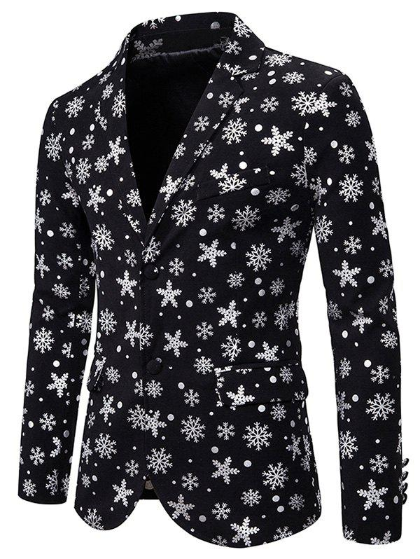 Christmas Snowflake Gilding Double Pocket Back Slit Blazer - SILVER L