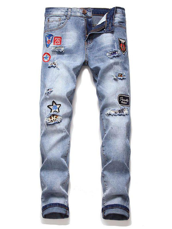 Letter Icon Embroidery Casual Jeans - DENIM BLUE 2XL