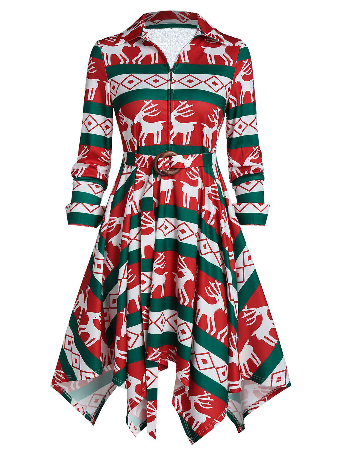 Elk Print Belted Front Zip A Line Dress - multicolor A M