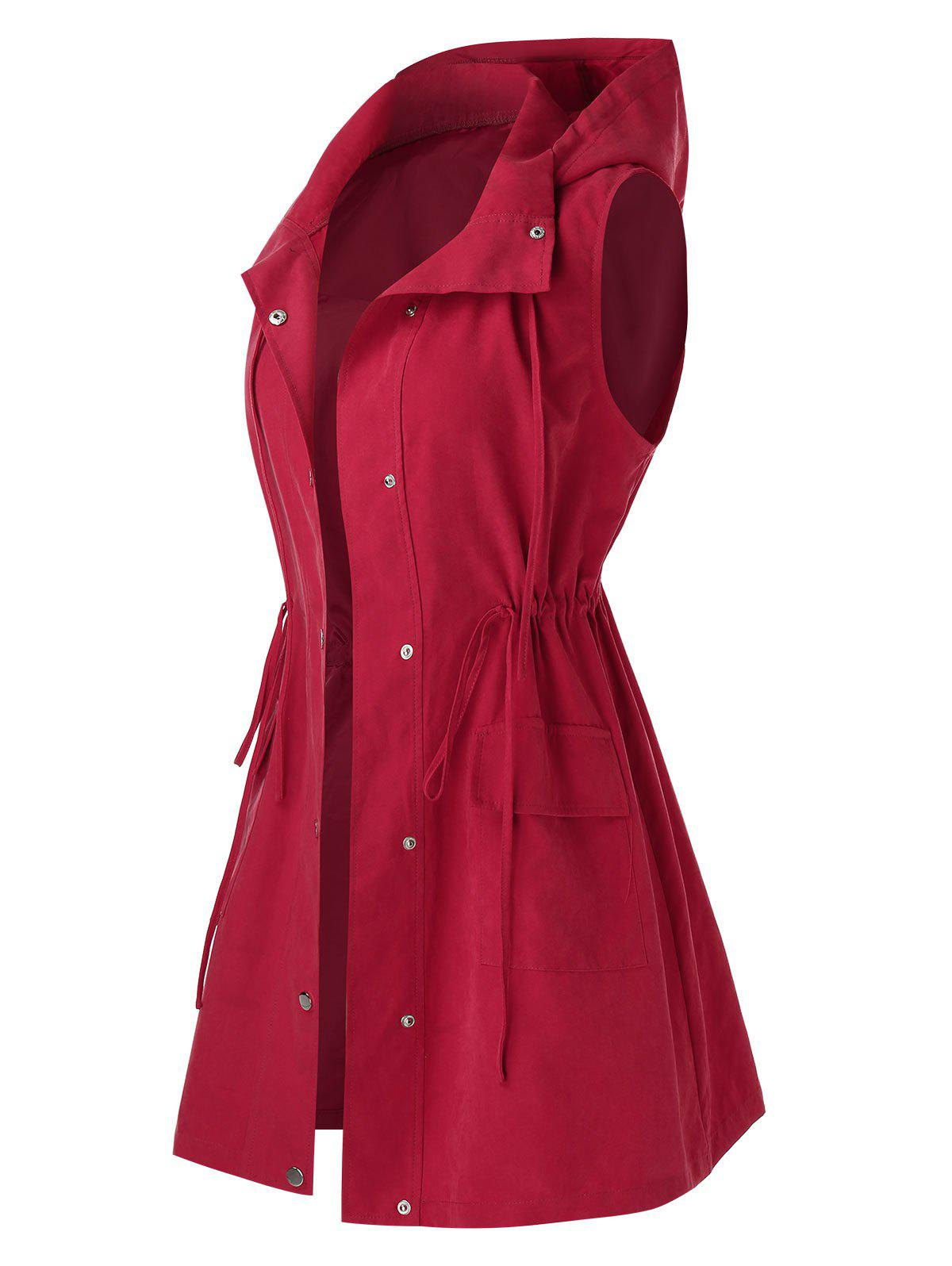 Plus Size Drawstring Hooded Waistcoat - CHERRY RED 2X