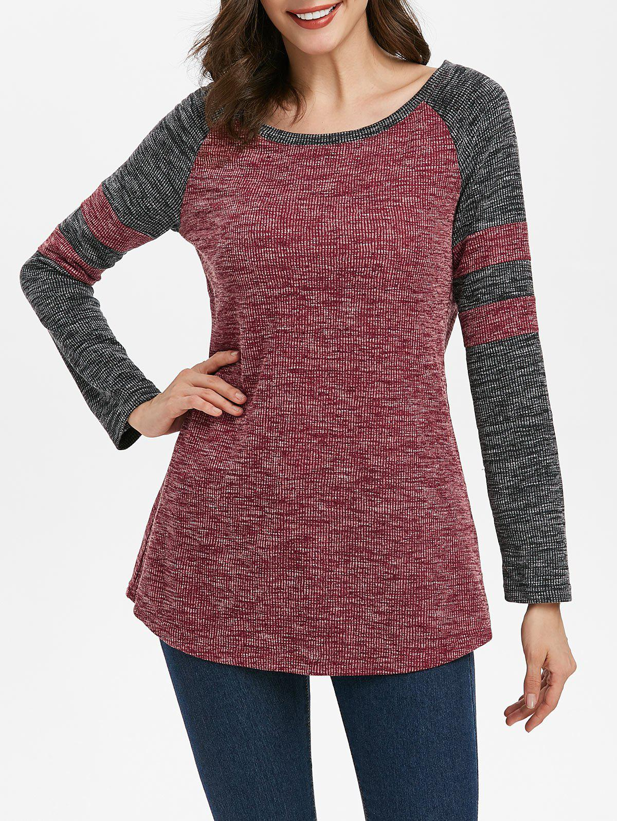 Striped Raglan Sleeve Contrast Ribbed Knitwear - RED WINE XL