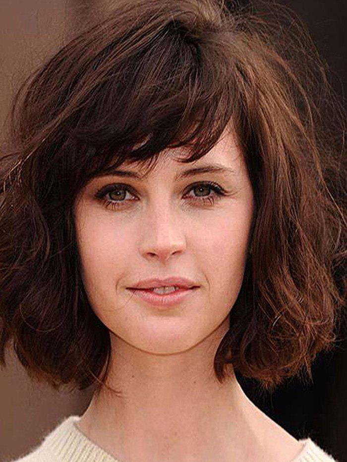 Synthetic Side Bang Bob Curly Wig - BROWN