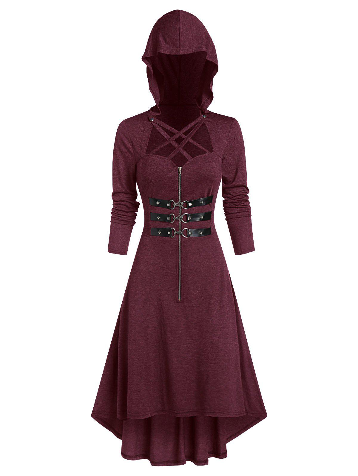 Hooded Lobster Buckle Strap High Low Gothic Dress - FIREBRICK S