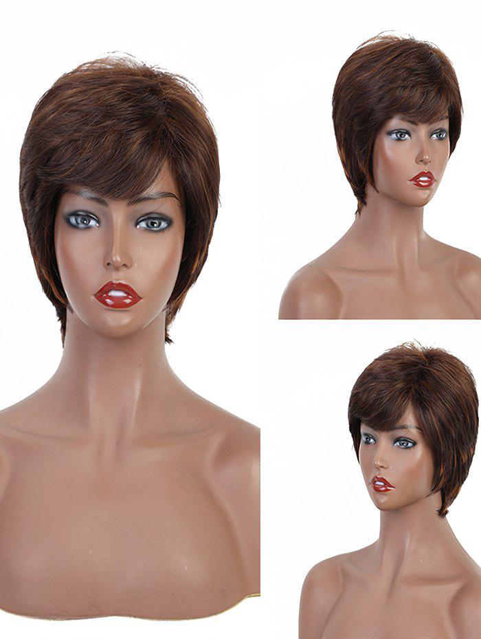 Side Bang Short Straight Layered Synthetic Wig - multicolor