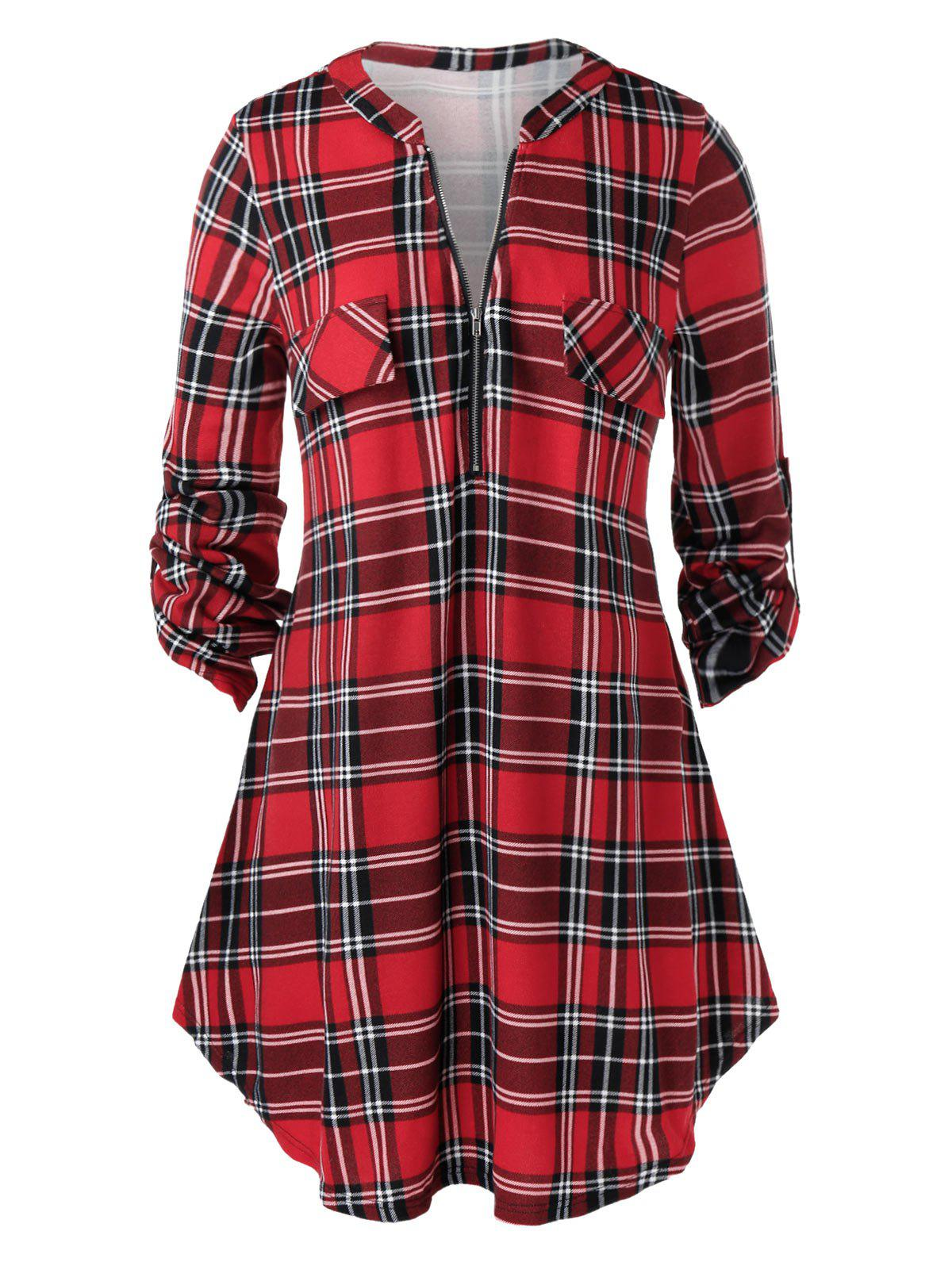 Plus Size Roll Up Sleeve Half Zip Plaid Blouse - RED WINE 2X