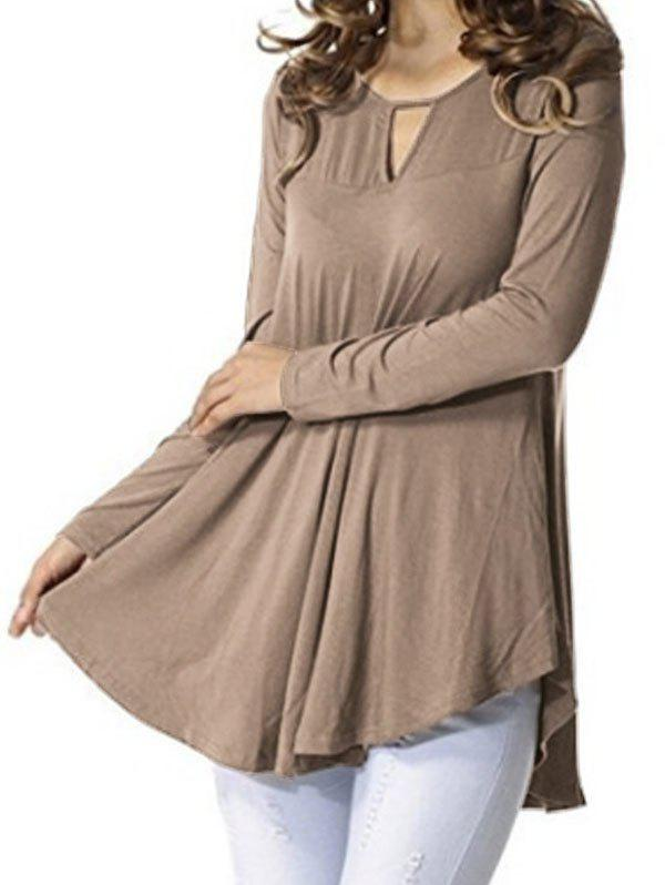 Keyhole Long Sleeve Tunic Top - KHAKI 3XL