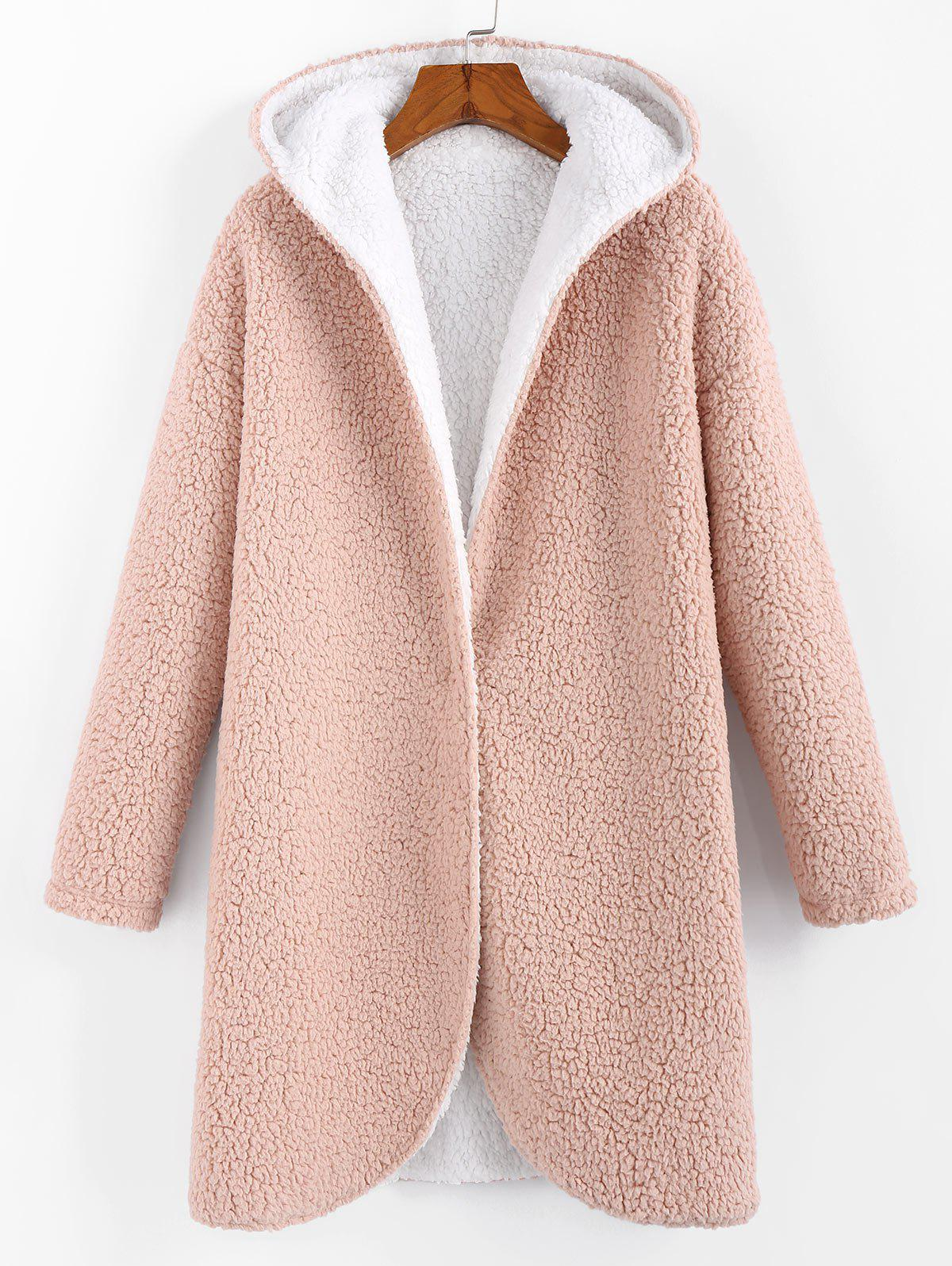 Faux Shearling Hooded Drop Shoulder Teddy Coat - PINK M