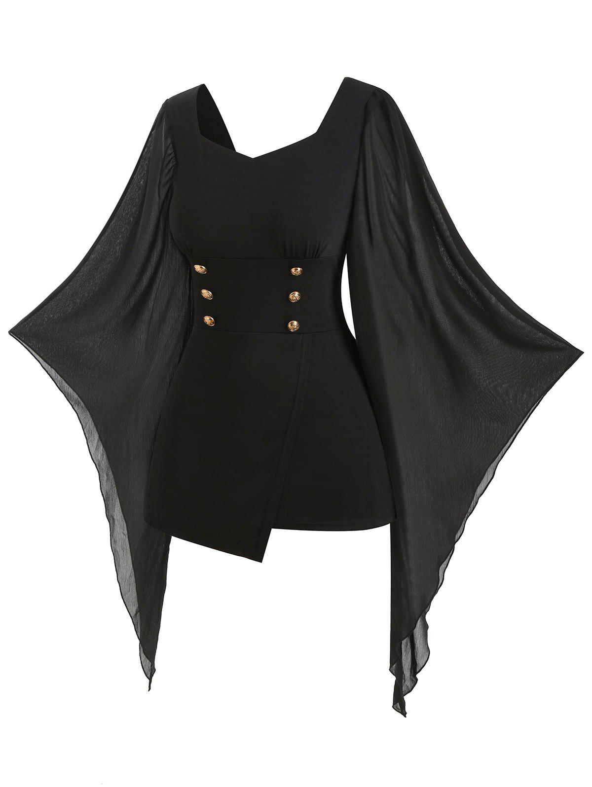 Plus Size Butterfly Sleeve Mock Button Asymmetric T-shirt - BLACK 5X
