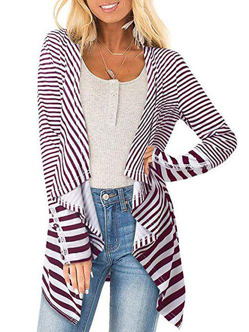 Draped Striped Jacket - FIREBRICK S