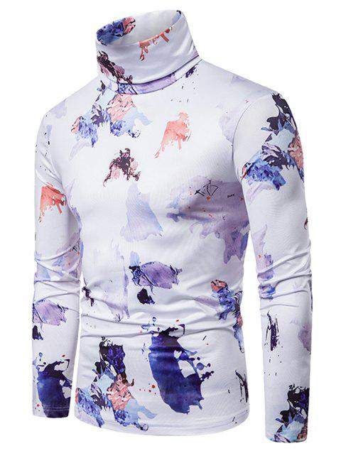 Colored Ink Painting Print Turtleneck T-shirt - WHITE 2XL