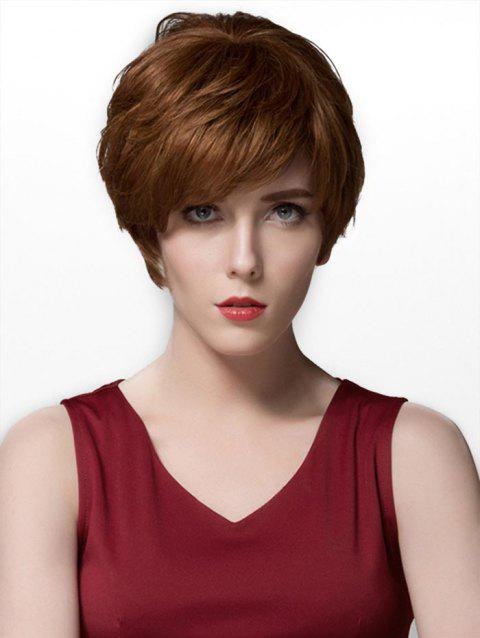 Side Part Straight Short Layered Human Hair Wig - BROWN