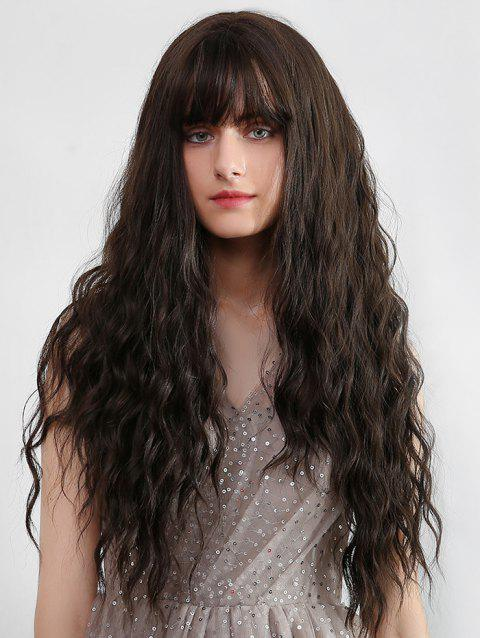 Full Bang Long Small Wavy Synthetic Wig - BROWN
