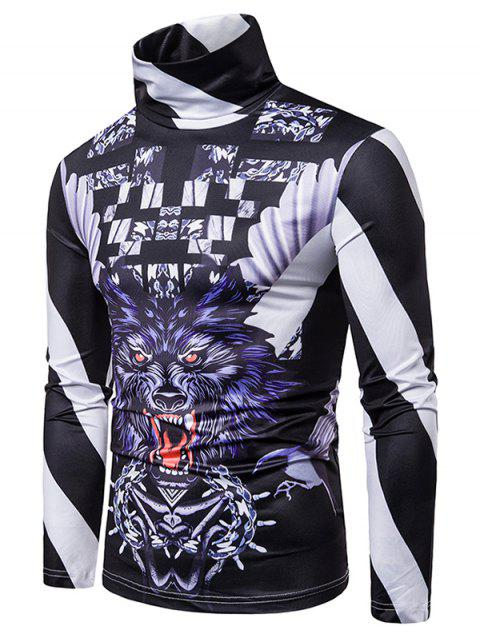 Floral Stripes Wolf 3D Print Long Sleeve T-shirt - multicolor 2XL