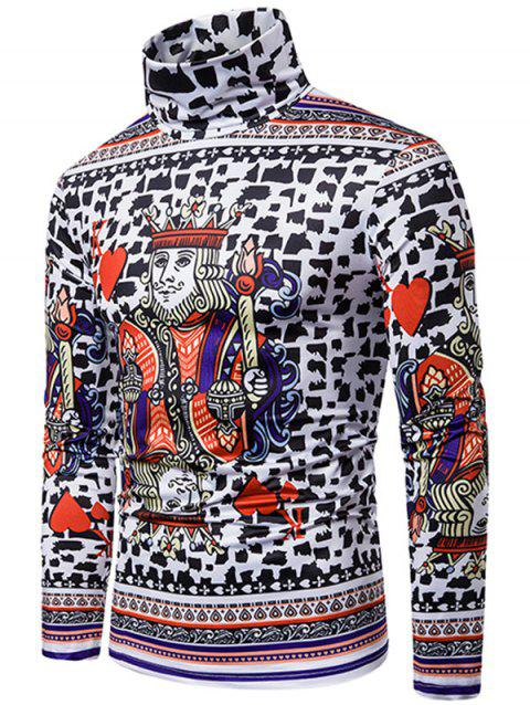 King of Heart Playing Card 3D Print Turtleneck T-shirt - multicolor XL