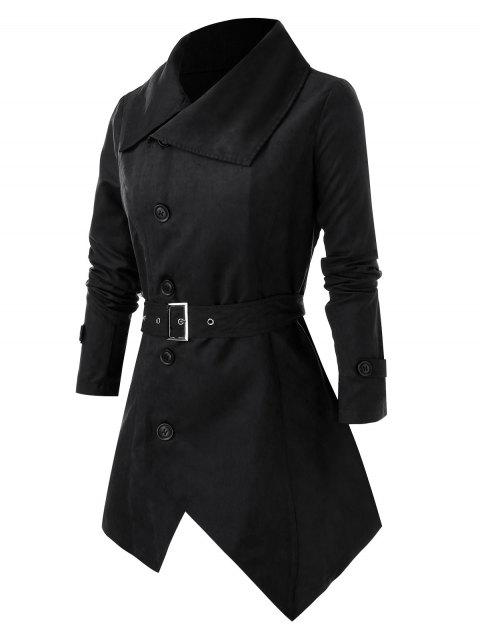 Plus Size Button Asymmetric Coat