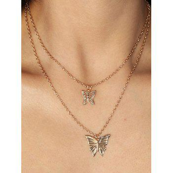 Hollow Butterfly Double Layered Necklace