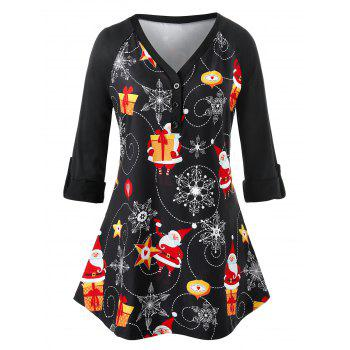 Plus Size Printed Button Long Sleeve T-Shirt