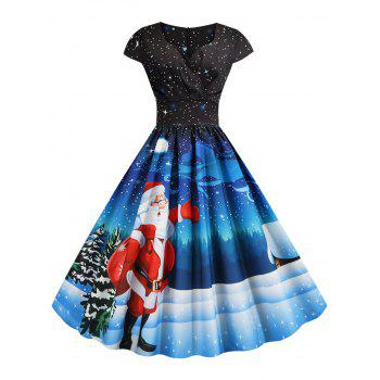 Christmas Santa Claus Elk Snowman Print Surplice Dress