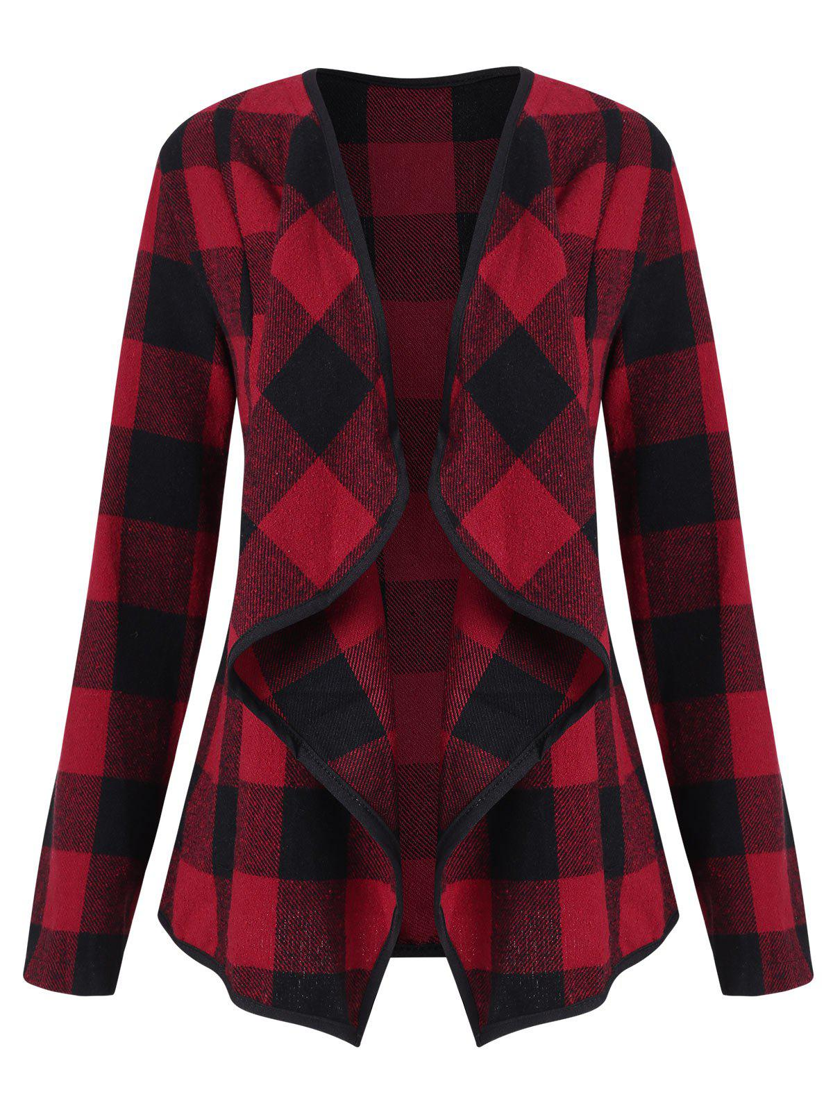 Plaid Draped Open Jacket - RED WINE XL