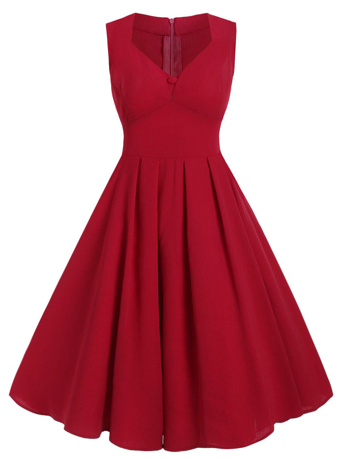 Plus Size Retro Sweetheart Neck Pin Up Dress - RED WINE 1X