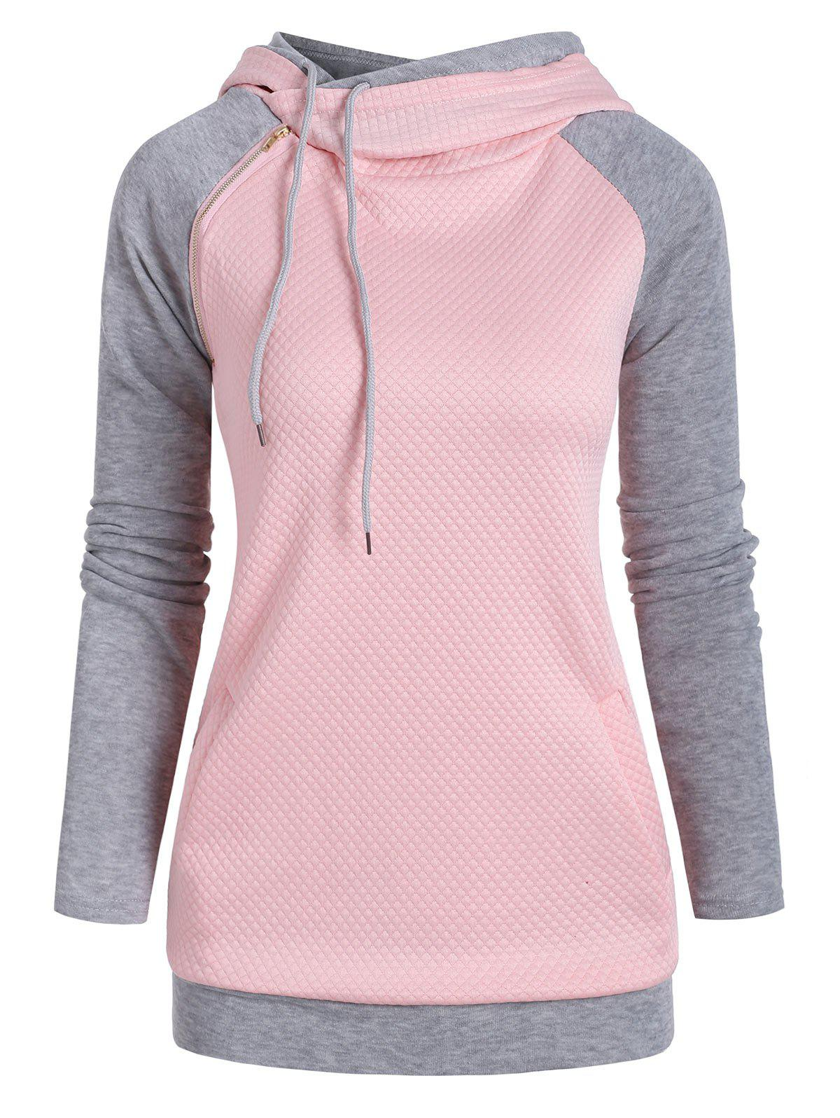 Heathered Textured Zipper Embellished Pockets Hoodie - PINK 2XL