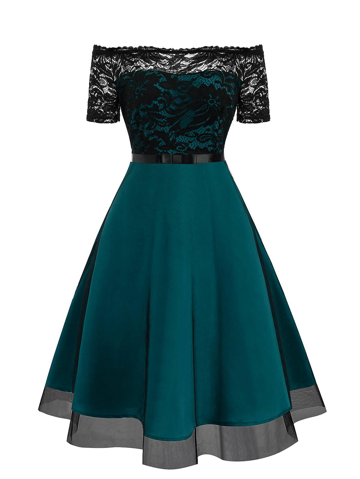 Lace Bodice Off The Shoulder Semi Formal Dress - MACAW BLUE GREEN 2XL