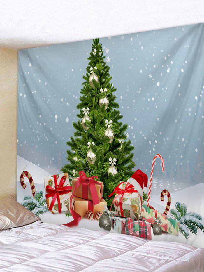 Christmas Tree Gifts Snow 3D Print Wall Tapestry - BABY BLUE W71 X L91 INCH