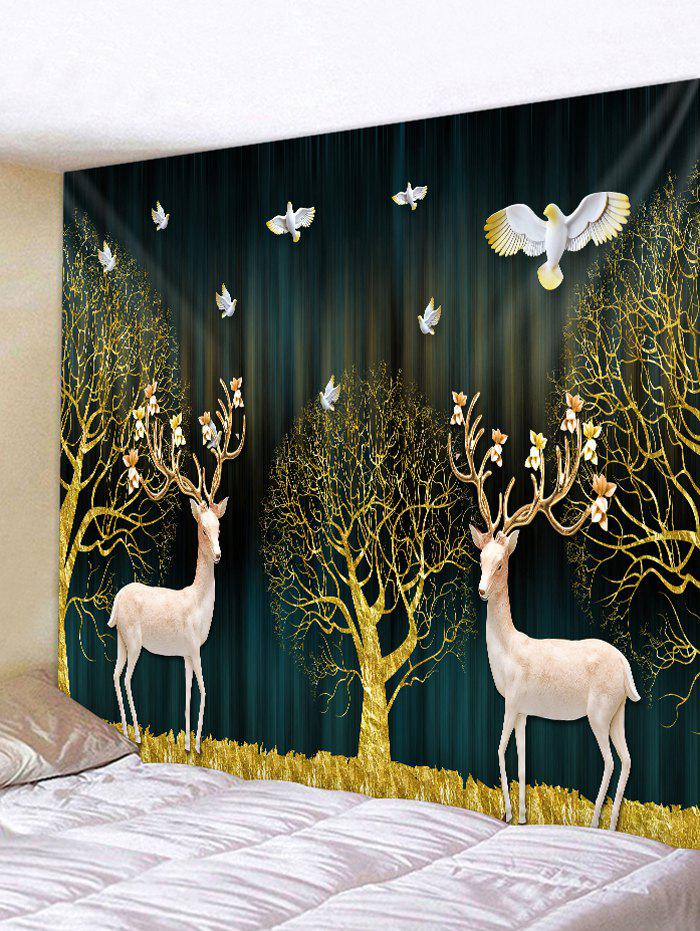 Christmas Tree Deers Print Wall Tapestry - GOLDEN BROWN W79 X L59 INCH
