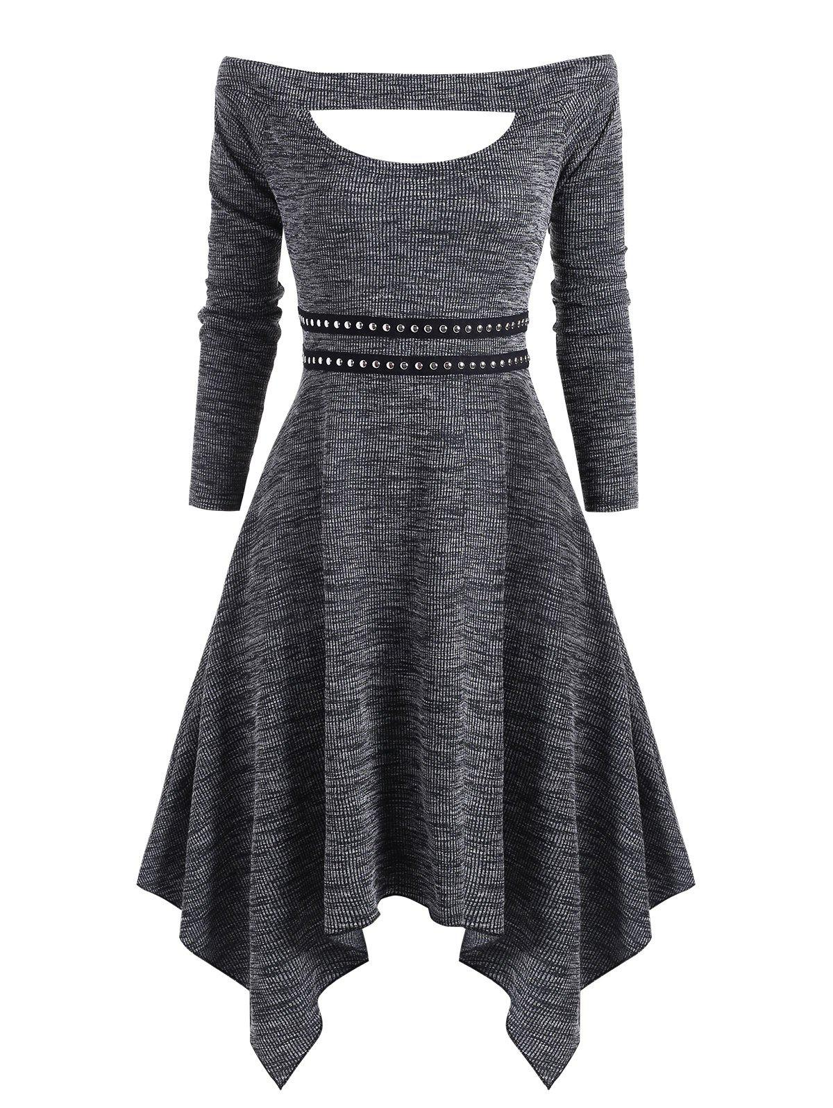 Off Shoulder Cutout Rivet Knitted Handkerchief Dress - GRAY M