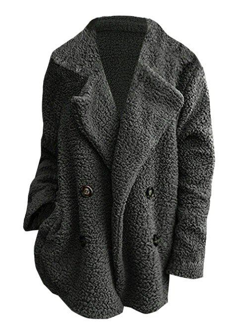 Double Breasted Lapel Seam Pockets Plus Size Teddy Coat - DARK GRAY 2X
