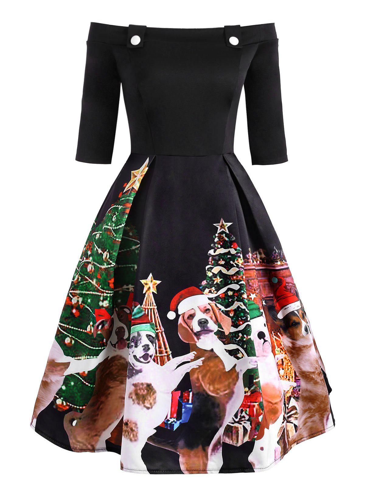 Christmas Dog Print Off Shoulder Button Embellished Dress - multicolor 2XL