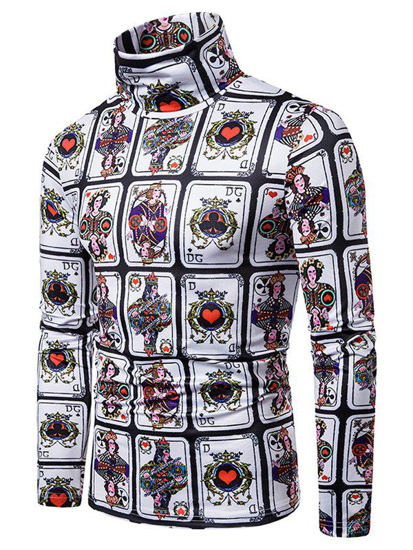 Poker Playing Card Allover Print Turtleneck T-shirt - multicolor XL