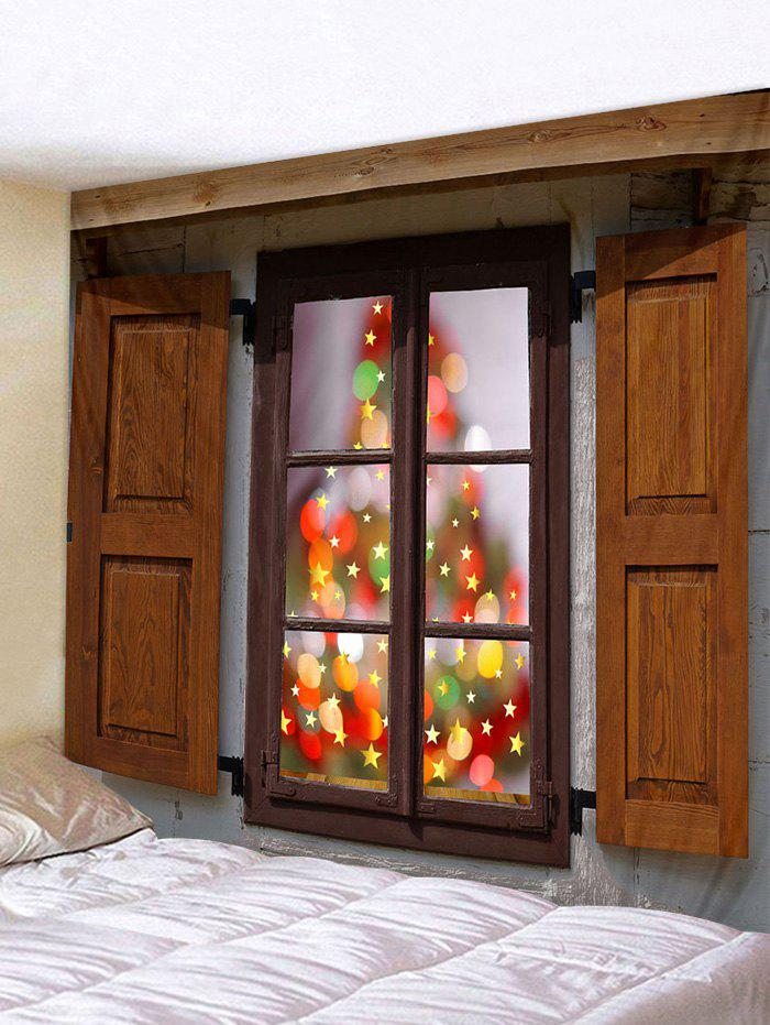 Christmas Window Stars Print Tapestry Wall Hanging Art Decoration - multicolor W59 X L51 INCH