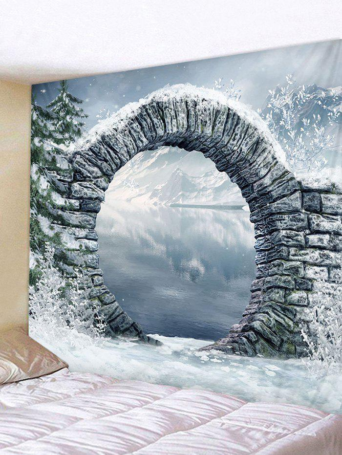 Tree Arch Lake Print Tapestry Wall Hanging Art Decoration - multicolor W91 X L71 INCH