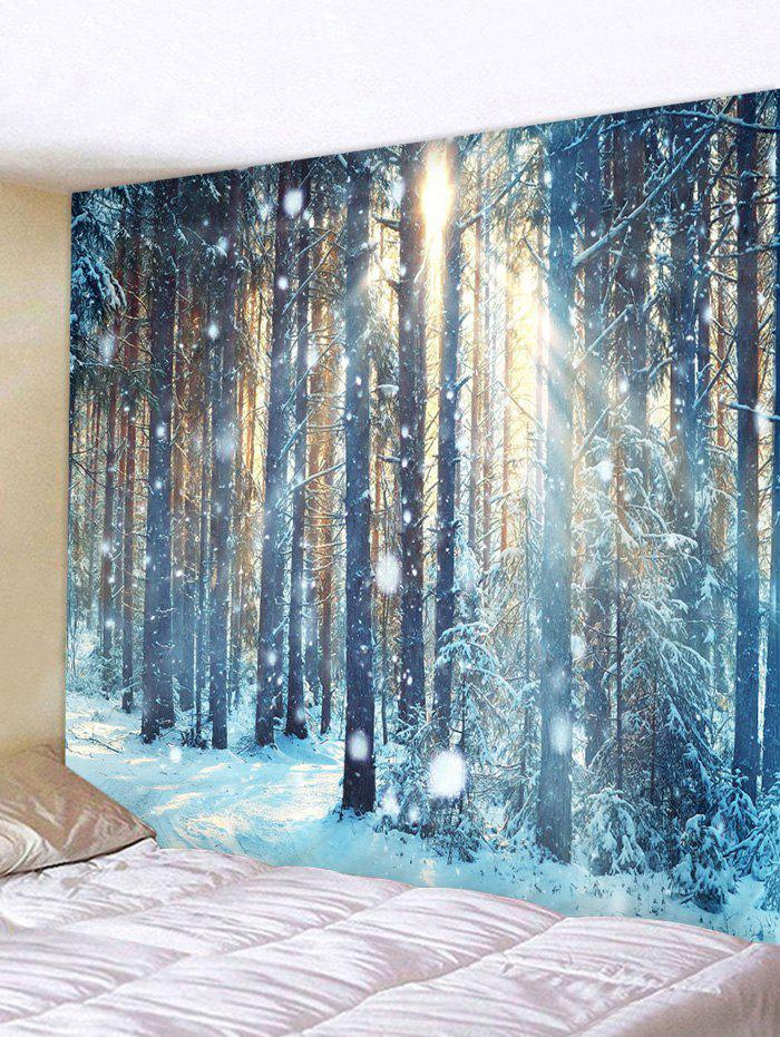 Sunlight Snow Forest Print Tapestry Wall Hanging Art Decoration - multicolor W91 X L71 INCH