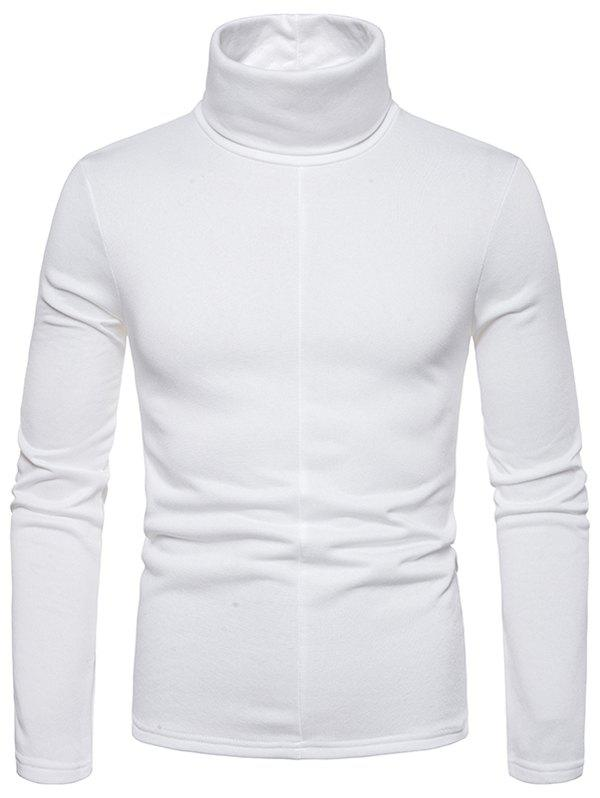 Solid Color Turtleneck Long Sleeve T Shirt - WHITE 2XL