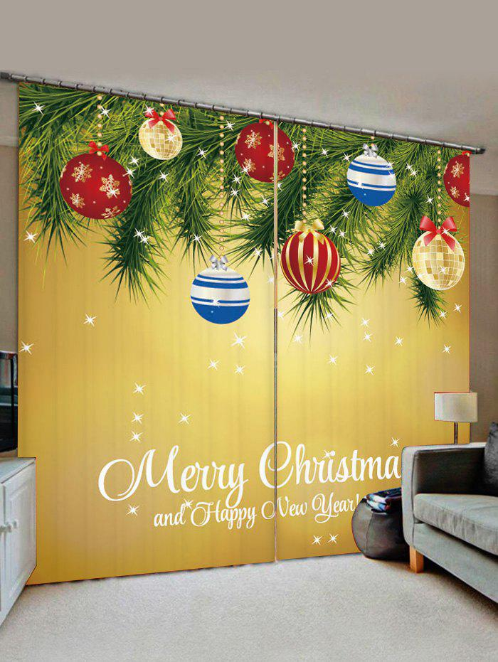 2 Panels Christmas Tree Balls Greeting Print Window Curtains - GOLDEN BROWN W28 X L39 INCH X 2PCS