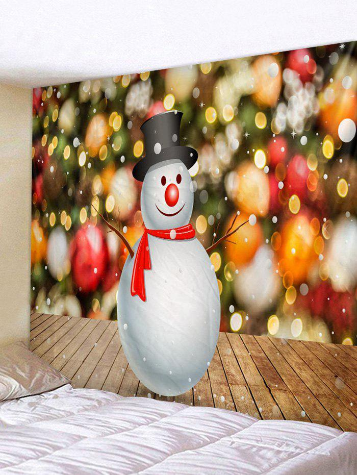 Christmas Wood Grain Snowman Print Tapestry Wall Hanging Art Decoration - multicolor A W59 X L79 INCH