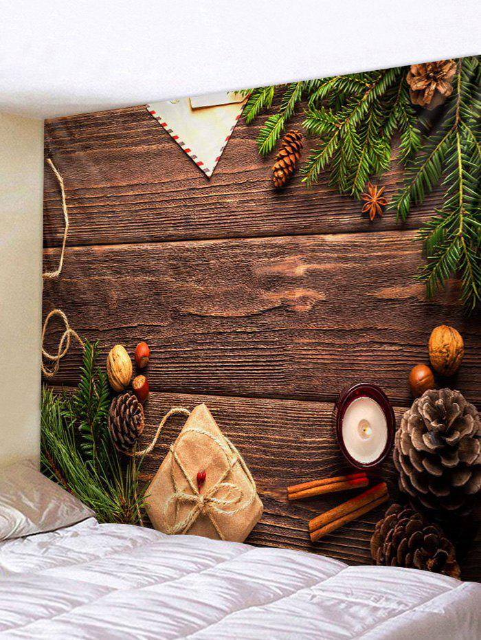 Christmas Gift Wood Grain Print Tapestry Wall Hanging Art Decoration - multicolor A W71 X L91 INCH