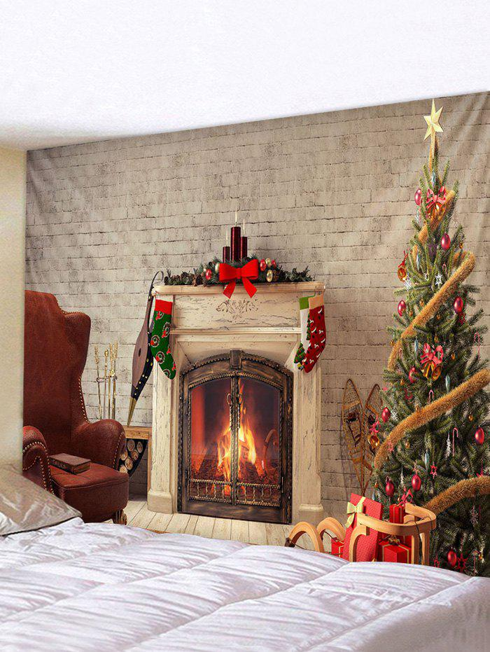 Christmas Tree Fireplace Printed Tapestry Wall Hanging Decor - multicolor W71 X L71 INCH