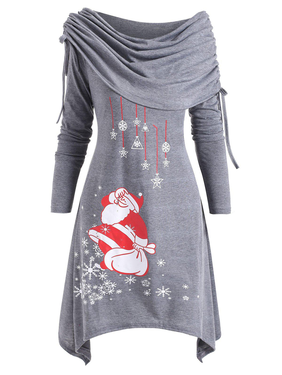 Christmas Santa Claus Foldover Off Shoulder Asymmetrical Dress - GRAY L