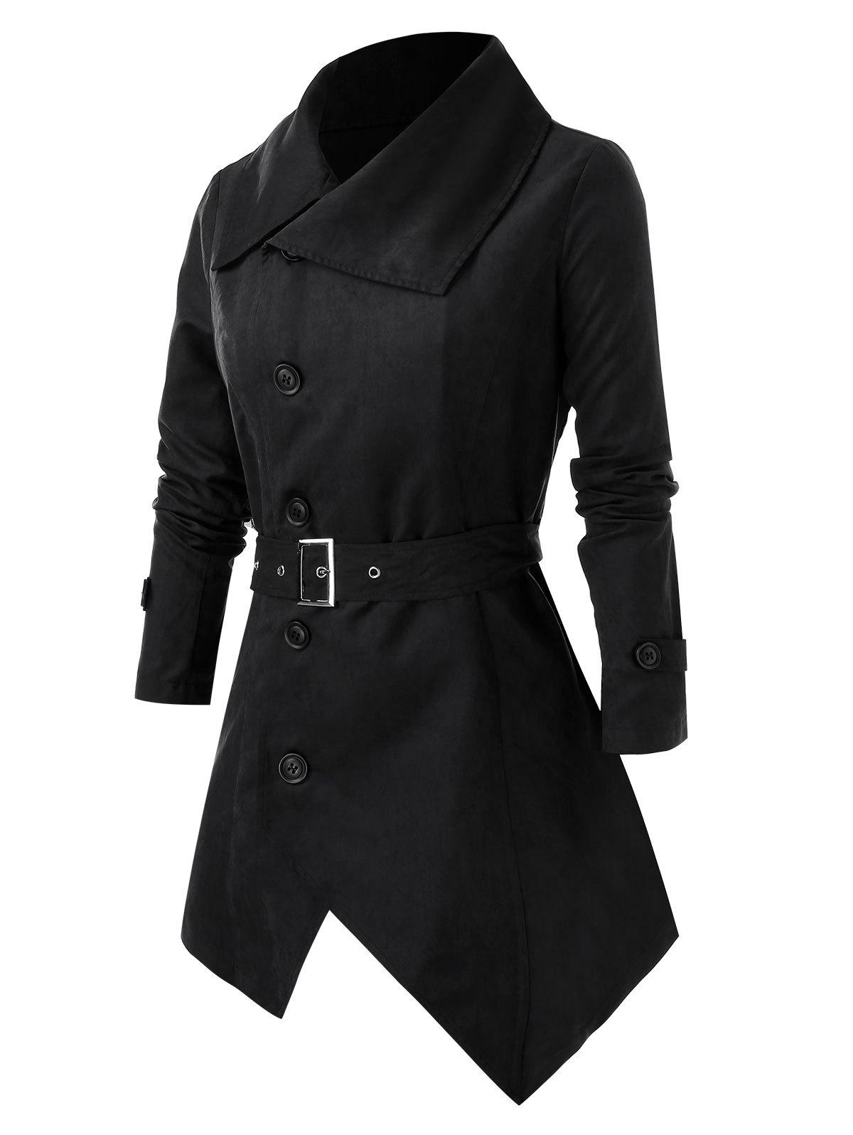 Plus Size Button Asymmetric Coat - BLACK L