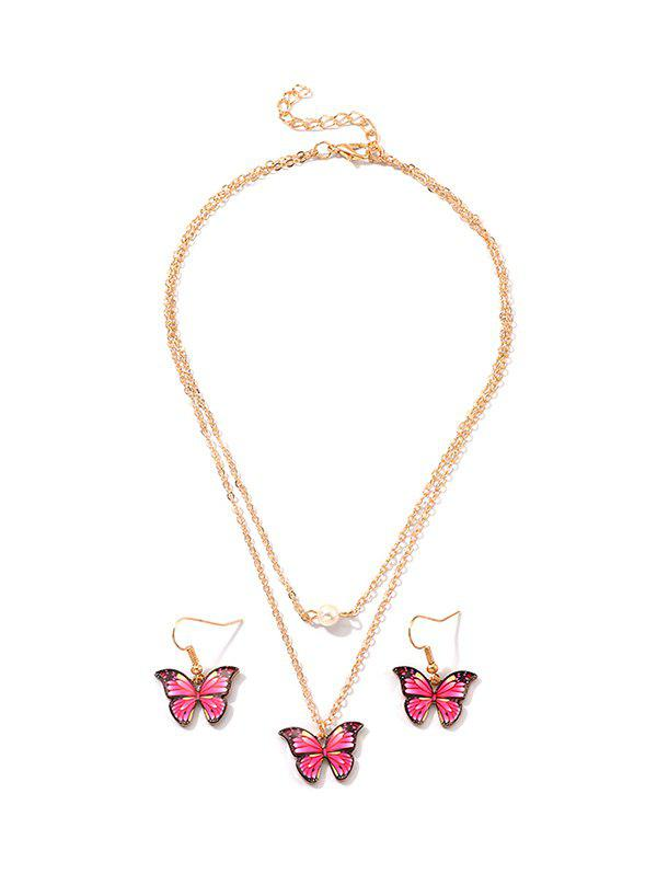 Ensemble de Boucles d'Oreilles et de Collier Superposé Papillon Pendants - Rouge Rose