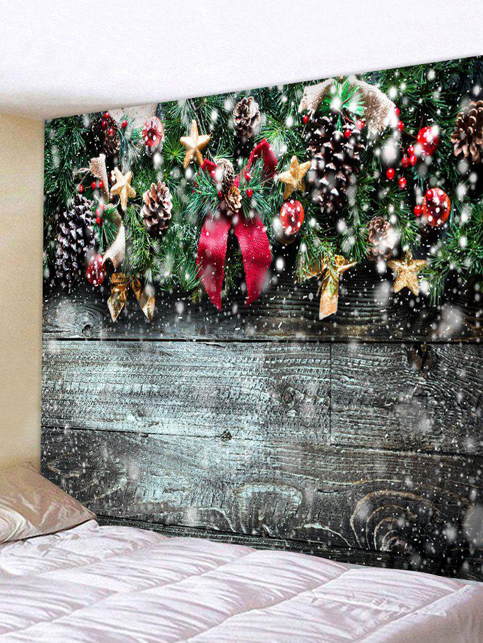 Christmas Wooden Pattern Tapestry - multicolor D W71 X L71 INCH