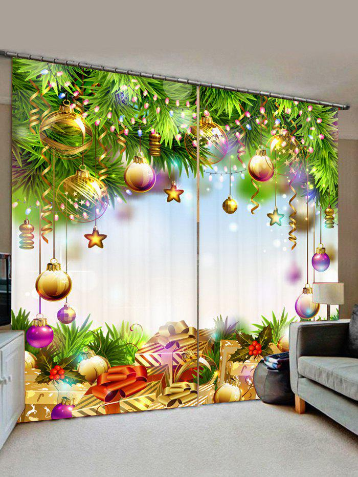 2 Panels Christmas Tree Balls Gifts Print Window Curtains - GREEN SNAKE W28 X L39 INCH X 2PCS